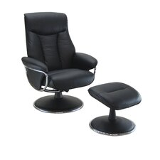 Geneva Leather Swivel Recliner and Footstool