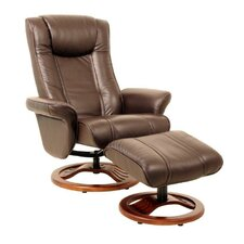 London Leather Swivel Recliner and Footstool