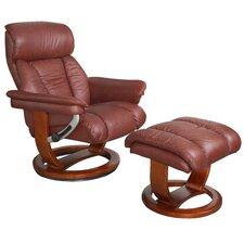 Mars Leather Swivel Recliner & Footstool Set