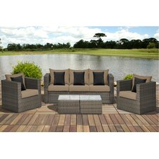 Atlantic Tottenham 5 Piece Deep Seating Group with Brown Cushions