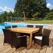 Violet 9 Piece Dining Set with Off-White Cushions