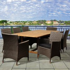 Swift Extendable 9 Piece Dining Set with Grey Cushions