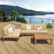 Amazonia Mali 3 Piece Lounge Seating Group with Brown Cushions