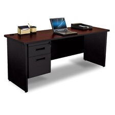 Pronto Single Pedestal Credenza Desk with Box and File