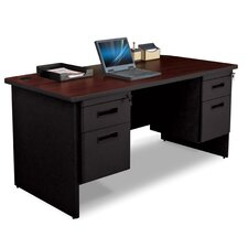 "Pronto 60"" W Double Pedestal Desk with Box and File"