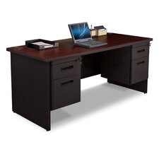 "Pronto 66"" W Double Pedestal Desk with Box and File"