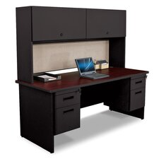 Pronto Executive Desk with Flipper Door Cabinet and Wire Management