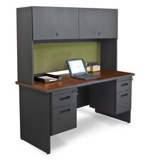 "Pronto 60"" Double File Desk Credenza with Flipper Door Cabinet"