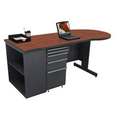 "Teachers 75"" Conference Desk with Bookcase"