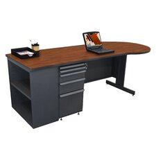 "Teachers 87"" Conference Desk with Bookcase"