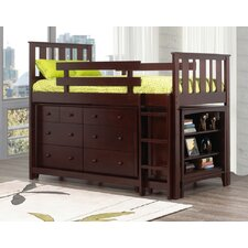 <strong>Caramia Furniture</strong> Ian Twin Loft Bed with 6-Drawer Double Dresser and Bookcase