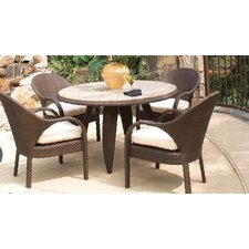 Bali 5 Piece Dining Set with Stone Top