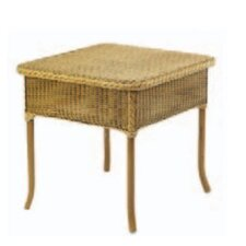 WickerLoom Square End Table with Glass Top