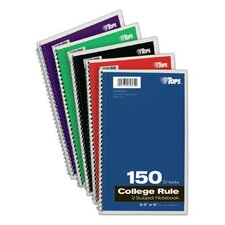 "9.5"" x 6""  3 Subject College Ruling Wirebound Notebook (Set of 24)"