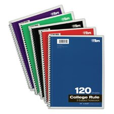"<strong>Tops</strong> 11"" x 8.5"" 3 Subject College Ruling Wirebound Notebook (Set of 24)"