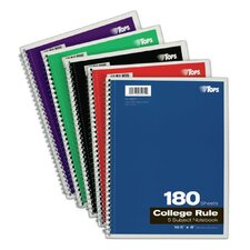 "10.5"" x 8"" 5 Subject College Ruling Wirebound Notebook (Set of 24)"