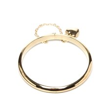 14k Gold over Silver Polished Heart Charm Baby Bangle