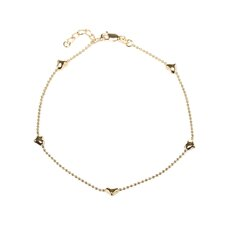 14k Gold over Silver Puffed Heart Anklet
