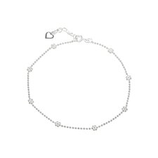 Sterling Silver Heart Charm and Flower Bead Chain Anklet