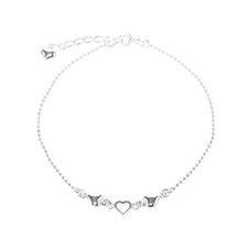 <strong>Sterling Essentials</strong> Sterling Silver 10 inches Hearts Anklet