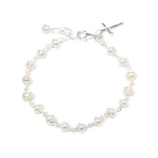 Sterling Silver Cultured Pearl Children's Cross Bracelet