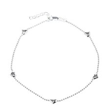 Sterling Silver Five Heart Station Anklet