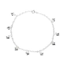 Sterling Silver Dangling Heart Anklet