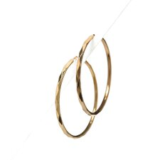14k Gold over Silver 49.5mm Faceted Hoop Earrings