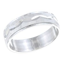 Platifina Platinum Plated Sterling Silver Unisex Diamond-Cut Wedding Grooves Band