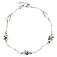 <strong>Sterling Essentials</strong> Sterling Silver 10 inches Lucky Elephants Anklet