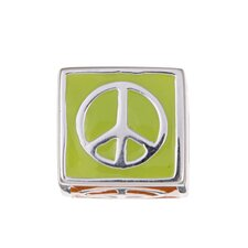Signature Moments Sterling Silver Multi-colored Enamel Peace Bead