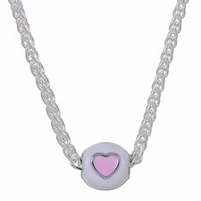 Sterling Silver Pink and White Heart Bead Necklace