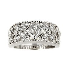 Sterling Silver Antique Design Cubic Zirconia Ring