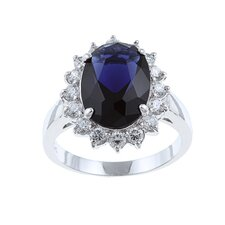 <strong>Sterling Essentials</strong> Sterling Silver Blue Glass and Clear Cubic Zirconia Diana Ring