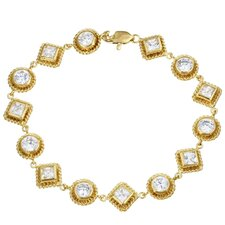 14k Gold over Silver Cubic Zirconia Circles and Squares Bracelet