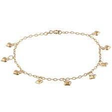 14k Gold over Silver Dangling Heart Anklet