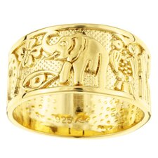 <strong>Sterling Essentials</strong> 14k Gold over Silver Good Luck Band