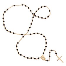 Gold Plated Bronze Beaded Rosary Necklace