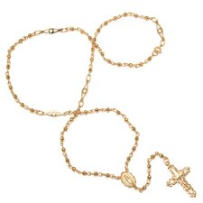 Gold Plated Bronze Cut-Out Bead Rosary Necklace