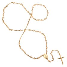 Gold Plated Silver Rosary Necklace with Swarovski Elements