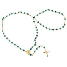 14k Gold over Bronze Rosary Czech Bead Necklace