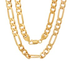<strong>Sterling Essentials</strong> Bronze Diamond Cut Figaro Chain Necklace