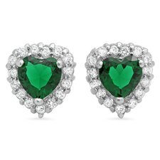 Heart Cut Cubic Zirconia Halo Stud Earrings