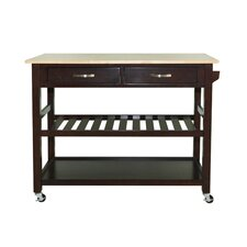 Solid Wood Top Kitchen Island Cart