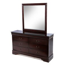 Louis Philippe 6 Drawer Dresser and Mirror