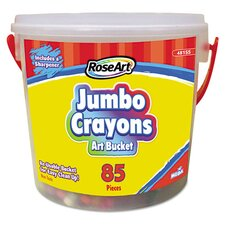 Classic Colors Jumbo Crayon Art Bucket with Sharpener (Set of 85)