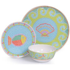 <strong>Island Way</strong> Melamine Mosaic Fish 3 Piece Dinnerware Set