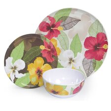 Melamine Hibiscus 3 Piece Place Setting