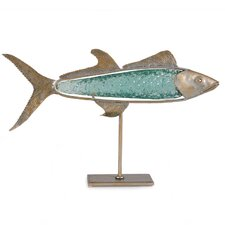 Hand Cast Glass Barracuda on Metal Stand Statue