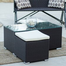 Hollywood Synthetic Rattan Three Piece Outdoor Coffee Table with Two additional Ottomans